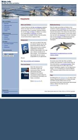Vorschau der mobilen Webseite www.wale.info, Die Welt der Wale und Delfine