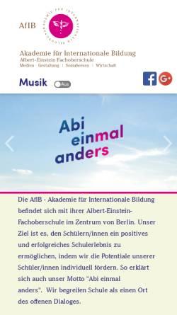 Vorschau der mobilen Webseite www.afib-berlin.de, Akademie für Internationale Bildung mit Fachoberschule - Charlottenburg