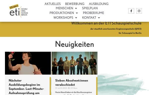 Vorschau von www.eti-schauspielschule-berlin.de, ETI Schauspielerschule Berlin - Mitte