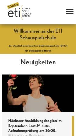 Vorschau der mobilen Webseite www.eti-schauspielschule-berlin.de, ETI Schauspielerschule Berlin - Mitte