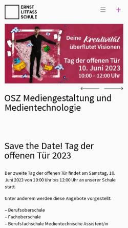 Vorschau der mobilen Webseite www.ernst-litfass-schule.de, OSZ Druck- und Medientechnik Berlin - Reinickendorf