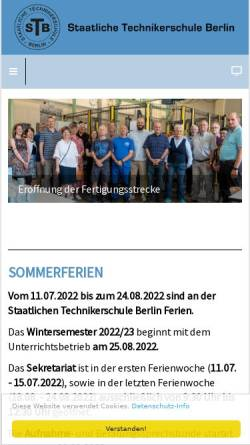 Vorschau der mobilen Webseite www.technikerschule-berlin.de, Staatliche Technikerschule - Tiergarten