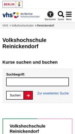 Vorschau der mobilen Webseite www.berlin.de, Volkshochschule Reinickendorf