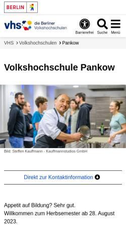Vorschau der mobilen Webseite www.vhspankow.de, Volkshochschule (VHS) Berlin Pankow, Prenzlauer Berg und Weißensee