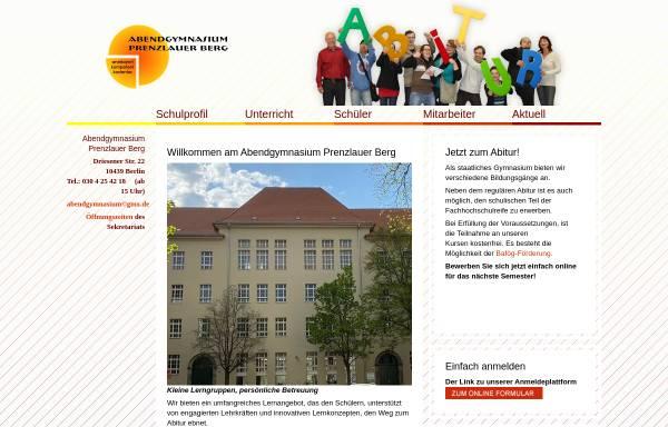 Vorschau von www.abendgymnasium-berlin.de, Abendgymnasium Prenzlauer Berg von Berlin