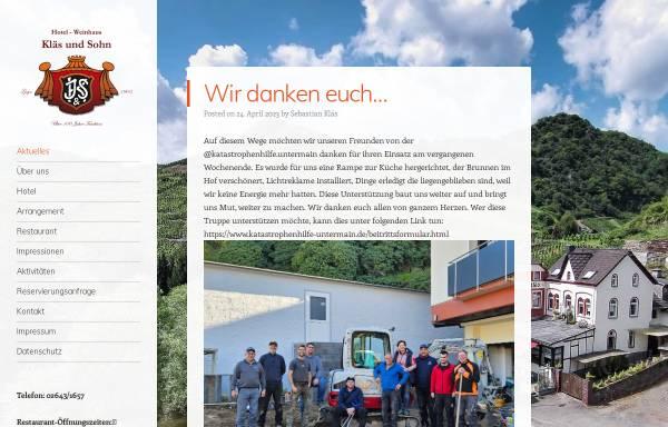 Vorschau von www.weinhaus-klaes.de, Hotel Weinhaus Kläs und Sohn
