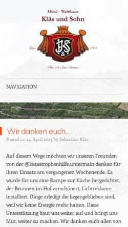 Vorschau der mobilen Webseite www.weinhaus-klaes.de, Hotel Weinhaus Kläs und Sohn