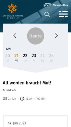 Vorschau der mobilen Webseite www.katholische-akademie-berlin.de, Katholische Akademie