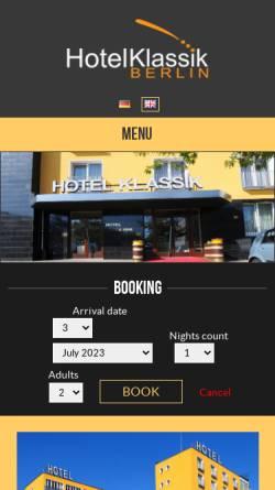 Vorschau der mobilen Webseite www.hotelklassik-berlin.de, Klassik in Berlin