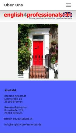 Vorschau der mobilen Webseite www.english4professionals.de, English4professionals