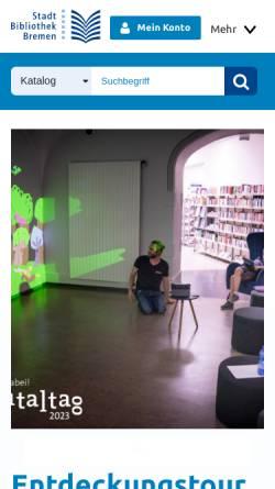 Vorschau der mobilen Webseite www.stabi-hb.de, Stadtbibliothek Bremen