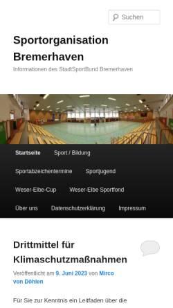 Vorschau der mobilen Webseite www.sportstadt-bremerhaven.de, Kreissportbund Bremerhaven e.V.