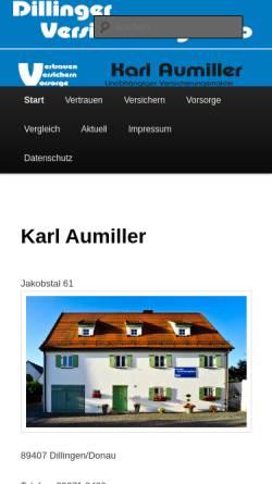 Vorschau der mobilen Webseite www.karl-aumiller.de, Aumiller Versicherungsbüro