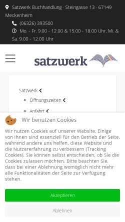 Vorschau der mobilen Webseite www.satzwerk24.de, Satzwerk Buch- & Copyshop