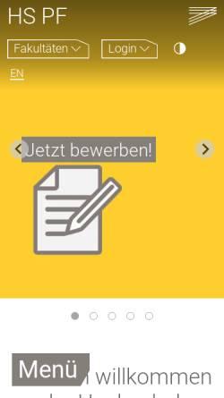 Vorschau der mobilen Webseite www.hs-pforzheim.de, Hochschule Pforzheim