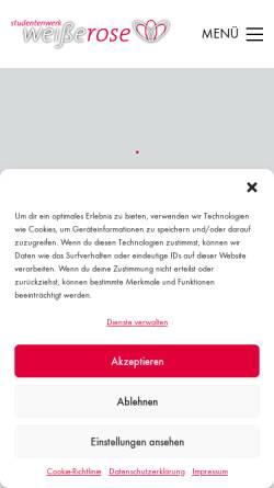 Vorschau der mobilen Webseite www.studentenwerk-weisserose.de, Studentenwerk Weiße Rose e.V.