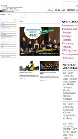 Vorschau der mobilen Webseite www.mh-stuttgart.de, Staatliche Hochschule für Musik und Darstellende Kunst Stuttgart