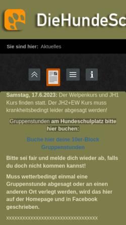 Vorschau der mobilen Webseite diehundeschule.com, Die Hundeschule beim Schottenhof