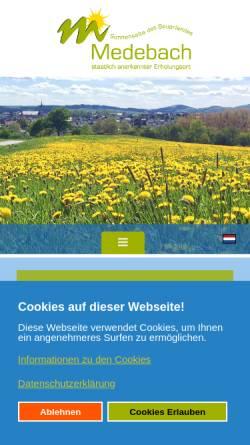 Vorschau der mobilen Webseite www.medebach-touristik.de, Touristik GmbH Medebach