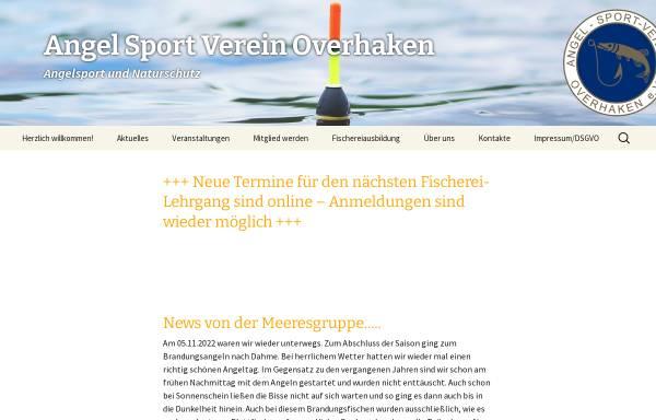 Vorschau von www.asv-overhaken.de, Angelsportverein Overhaken