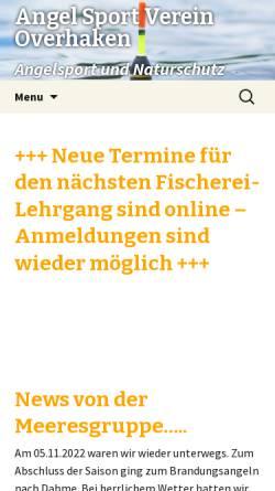 Vorschau der mobilen Webseite www.asv-overhaken.de, Angelsportverein Overhaken