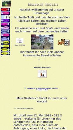 Vorschau der mobilen Webseite www.beardie-trolli.de, Bearded Collie Trolli