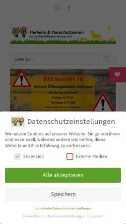 Vorschau der mobilen Webseite www.tierheim-aachen.de, Katzenhilfe Aachen e.V.