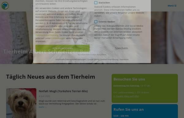 Vorschau von www.tierheimbonn.de, Tierheim Albert Schweitzer