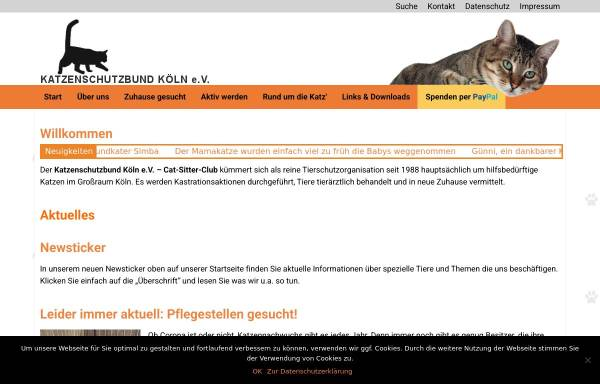 Vorschau von www.katzenschutzbund-koeln.de, Katzenschutzbund e. V. Cat-Sitter-Club Köln