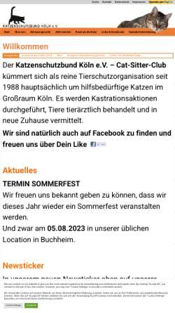 Vorschau der mobilen Webseite www.katzenschutzbund-koeln.de, Katzenschutzbund e. V. Cat-Sitter-Club Köln