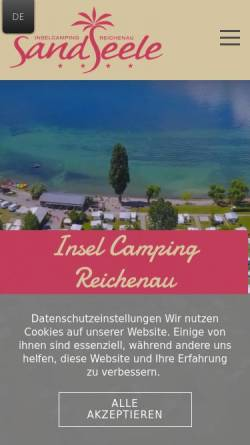 Vorschau der mobilen Webseite www.sandseele.de, Insel Camping Platz Sandseele