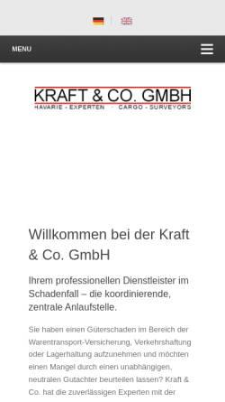 Vorschau der mobilen Webseite www.kraft-co.de, Kraft Sachverständige für Warenschäden