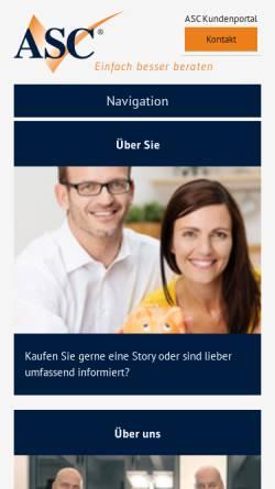 Vorschau der mobilen Webseite www.asc-finanz.de, ASC-Finanz