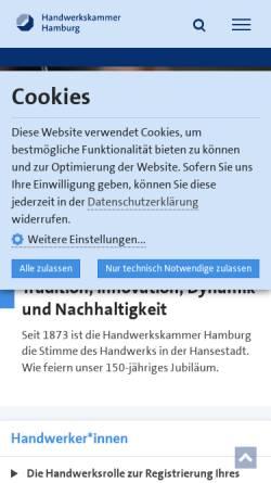 Vorschau der mobilen Webseite www.hwk-hamburg.de, Handwerkskammer Hamburg