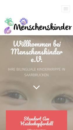 Vorschau der mobilen Webseite menschenskinder-sb.de, Kinderkrippe Menschenskinder e.V.