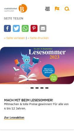 Vorschau der mobilen Webseite www.stadtbibliothek.saarbruecken.de, Stadtbibliothek