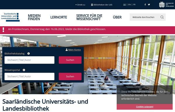 Vorschau von www.sulb.uni-saarland.de, SULB Universitäts- und Landesbibliothek