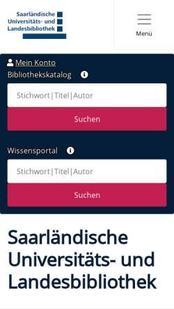 Vorschau der mobilen Webseite www.sulb.uni-saarland.de, SULB Universitäts- und Landesbibliothek