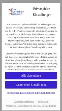 Vorschau der mobilen Webseite www.kunstschule-sls.de, Freie Kunstschule Saarlouis e.V.