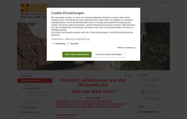 Vorschau von www.gse-saar.de, GSE Gemeinnützige Gesellschaft für Sozialeinrichtungen des ASB mbH