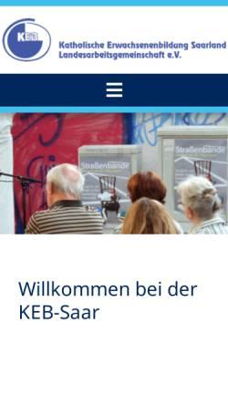 Vorschau der mobilen Webseite www.keb-saar.de, KEB Katholische Erwachsenenbildung Landesarbeitsgemeinschaft e.V.