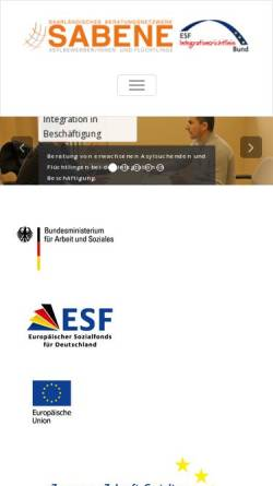 Vorschau der mobilen Webseite www.sabene.de, Sabene Saarländisches Beratungsnetzwerk Bleibeberechtigte und Flüchtlinge