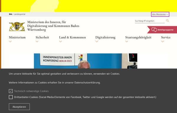 Vorschau von www.innenministerium.baden-wuerttemberg.de, Innenministerium