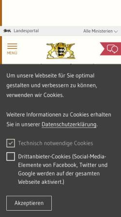 Vorschau der mobilen Webseite www.innenministerium.baden-wuerttemberg.de, Innenministerium