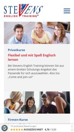 Vorschau der mobilen Webseite www.stevens-english.de, Stevens English Training