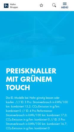 Vorschau der mobilen Webseite www.hahn-automobile.de, Autohaus Hahn