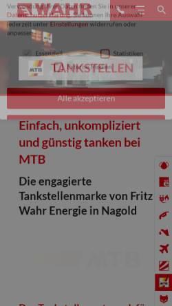 Vorschau der mobilen Webseite www.mtb-tankstellen.de, MTB-Tankstellen - Fritz Wahr Mineralöle - Spedition e.K.