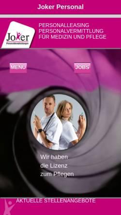 Vorschau der mobilen Webseite www.joker-personal.de, Joker Personaldienstleistungen GmbH