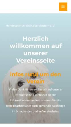 Vorschau der mobilen Webseite www.hundesport-kl.de, Hundesportverein Kaiserslautern e.V.