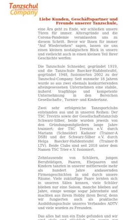 Vorschau der mobilen Webseite www.tanzschul-company.de, Tanzschul Company